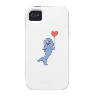 Happy Shark with Heart Shaped Balloon. iPhone 4/4S Case