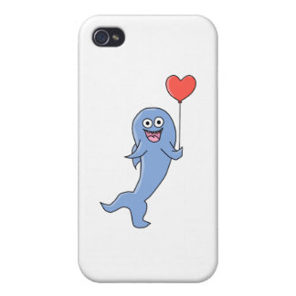 Happy Shark with Heart Shaped Balloon. iPhone 4/4S Cover
