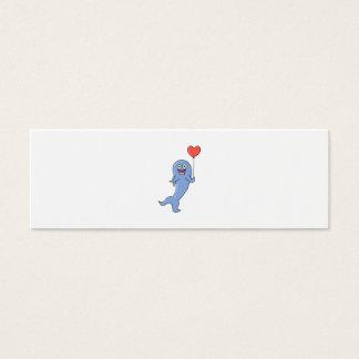 Happy Shark with Heart Shaped Balloon. Mini Business Card