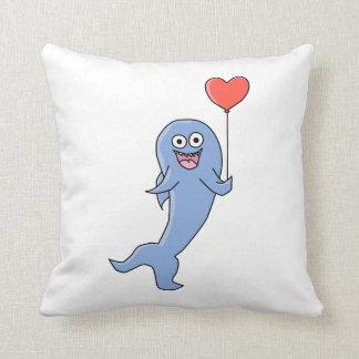Happy Shark with Heart Shaped Balloon. Throw Pillow