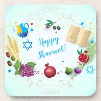 Happy SHAVUOT decorative ornament seven species Beverage Coaster