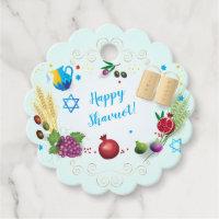 Happy SHAVUOT decorative ornament seven species Favor Tags