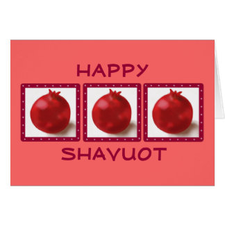 HAPPY SHAVUOT Hebrew fun Red Pomegranate Card