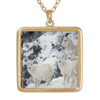 Happy Sheep Family Square Pendant Necklace