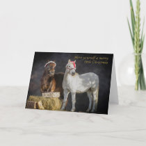 Happy Shetland pony Christmas Holiday Card