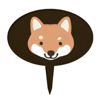 Happy Shiba Inu Smiley Face Dog Cake Topper