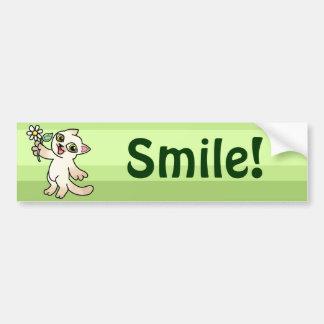 Happy Siamese cat holding Daisy Car Bumper Sticker