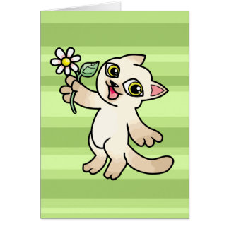 Happy Siamese cat holding Daisy Greeting Cards