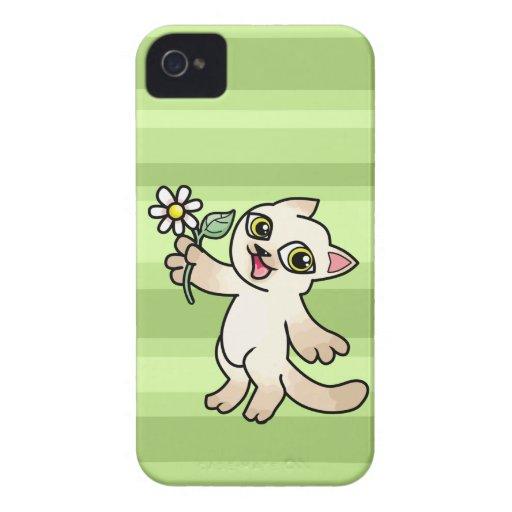 Happy Siamese cat holding Daisy Blackberry Bold Cases