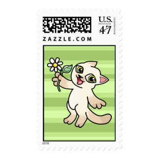 Happy Siamese cat holding Daisy Postage