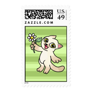 Happy Siamese cat holding Daisy Postage Stamp