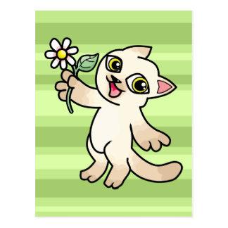 Happy Siamese cat holding Daisy Post Card