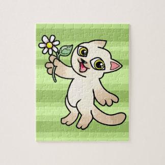 Happy Siamese cat holding Daisy Puzzles
