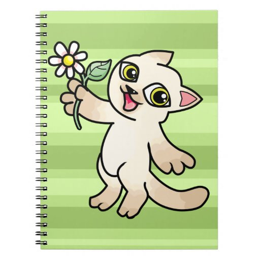 Happy Siamese cat holding Daisy Spiral Note Book