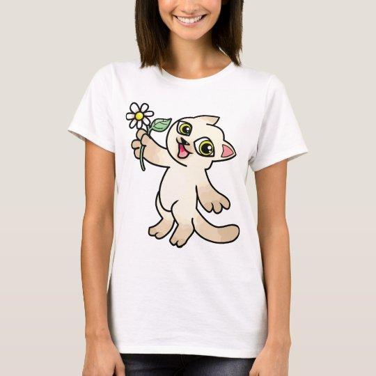 Happy Siamese cat holding Daisy T-Shirt