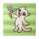 Happy Siamese cat holding Daisy Tile