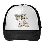 Happy Siamese cat holding Daisy Trucker Hat