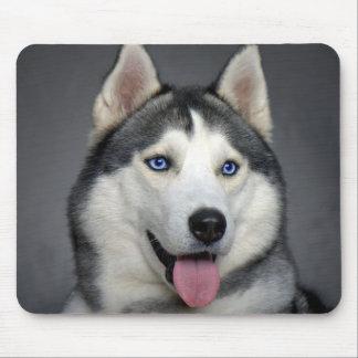 Happy Siberian Husky Puppy Dog Portrait Mousepad