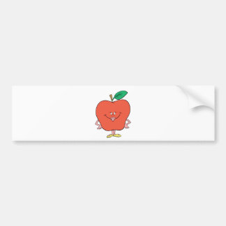 happy silly apple cartoon bumper sticker