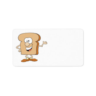 happy silly bread toast cartoon address label