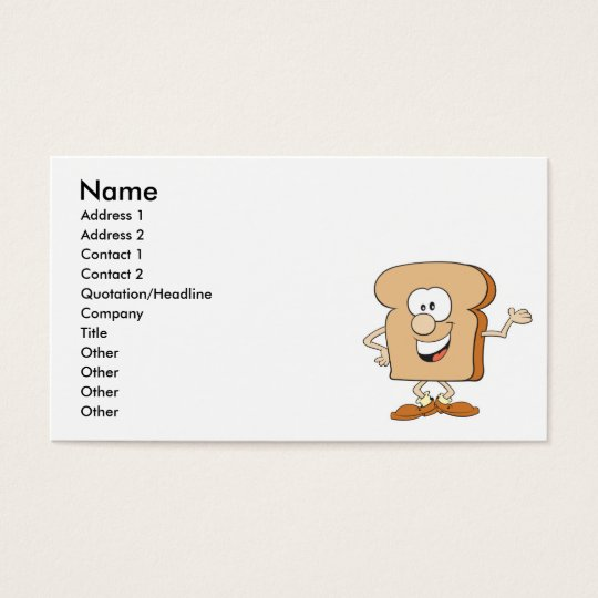 happy silly bread toast cartoon business card