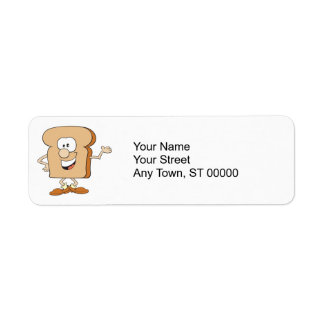 happy silly bread toast cartoon return address label