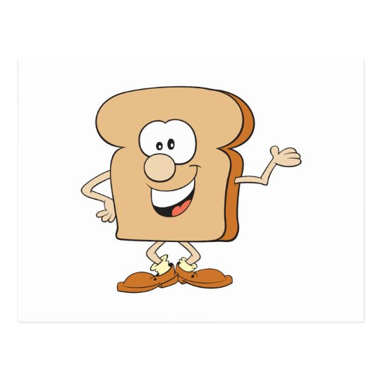 happy silly bread toast cartoon postcard