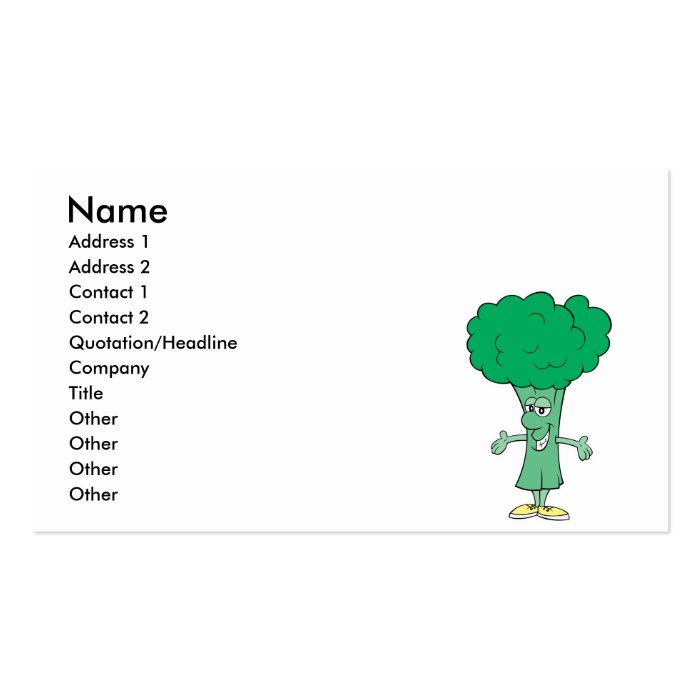 happy silly broccoli cartoon business card