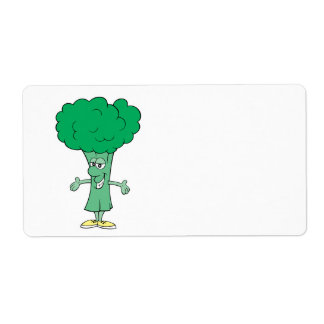 happy silly broccoli cartoon custom shipping labels