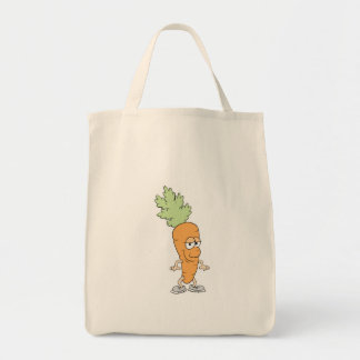 happy silly carrot cartoon tote bag