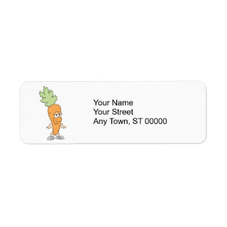 happy silly carrot cartoon label