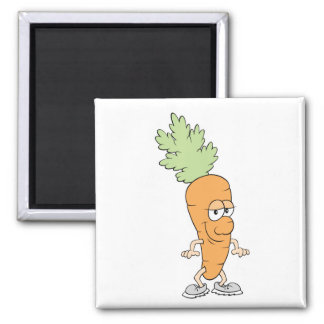 happy silly carrot cartoon 2 inch square magnet