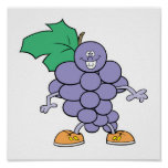happy silly grapes cartoon poster