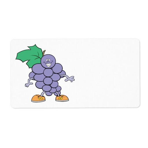 happy silly grapes cartoon shipping label