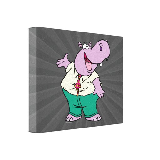 happy silly hippo cartoon stretched canvas print