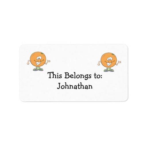 happy silly orange cartoon address label
