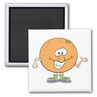 happy silly orange cartoon 2 inch square magnet