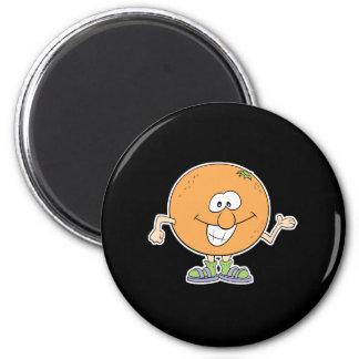 happy silly orange cartoon 2 inch round magnet