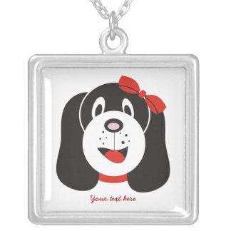 Happy silly puppy custom silver pendant