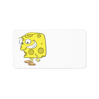 happy silly swiss cheese cartoon personalized address label