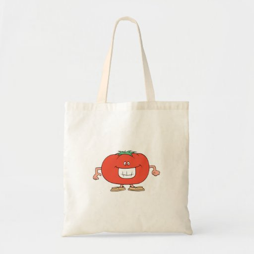 happy silly tomato cartoon canvas bag