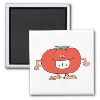 happy silly tomato cartoon magnet