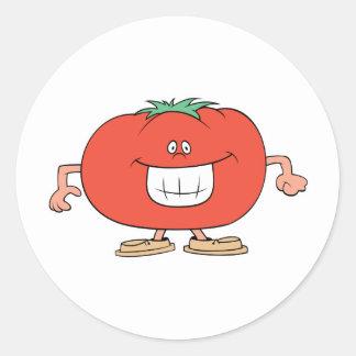 happy silly tomato cartoon classic round sticker