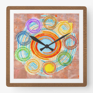 HAPPY Simple Art for your JOY. Square Wall Clock
