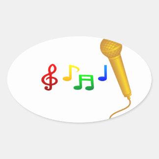 Happy Singing Music Karaoke Oval Sticker