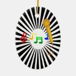 Happy Singing Music Karaoke Sweet Black White Ornaments