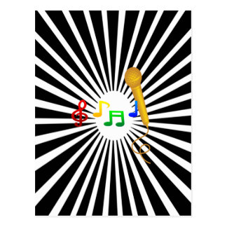 Happy Singing Music Karaoke Sweet Black White Postcard