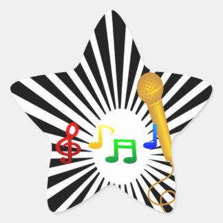 Happy Singing Music Karaoke Sweet Black White Star Stickers