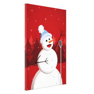 Happy Singing Snowman Christmas Canvas Print