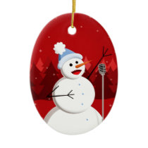 Happy Singing Snowman Christmas Custom Text Ceramic Ornament